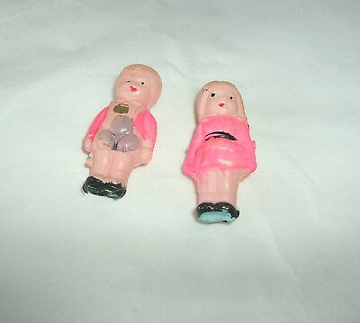 """Vintage Miniature Toy Set Celluloid Boy And Girl, Japan, 1 3/4"""""""