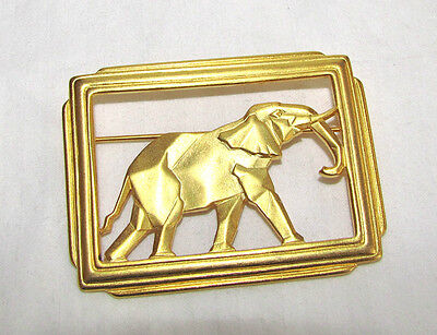 "Large 2 1/4"" Gold Plated Elephant Pin - Hallmarked c) JJ"