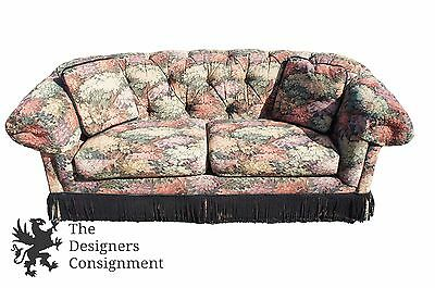 """Vintage Drexel Heritage Skirted Floral Tufted Sofa Couch Tree Forest Design 87"""""""