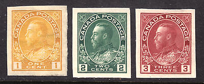 1924 Kgv Admiral Imperf Set/3 #136-138, Vf, Mint Hinged
