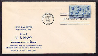 1945 ANNAPOLIS, MD., #935 3c on U.S. NAVY UNLISTED FIRST DAY CACHET