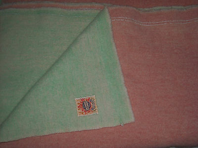 "Vintage AYERS ""Pure Wool"" Blanket, Green & Pink, Made in Canada; 50"" x 76"""