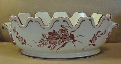 Late 18th or Early 19th Century French Faience Monteith Bowl Sepia Floral Decor.