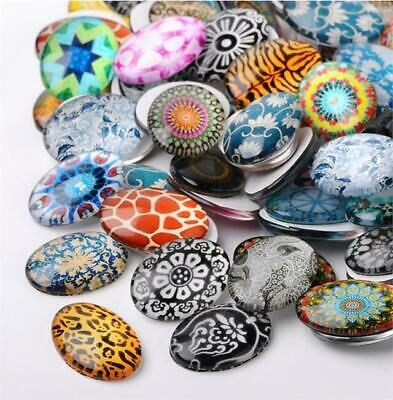 10 x OVAL MOSAIC PRINTED CLEAR GLASS DOMED CABOCHONS 25mm X 18mm