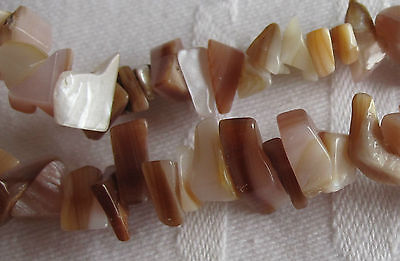 """A 15"""" String of Light Brown Mother of Pearl Chips"""