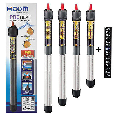 Hidom Quartz Submersible Aquarium Fish Tank Heater Submersible with Thermometer