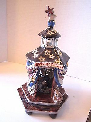 """Blue Sky Clayworks """"HAPPY 4TH OF JULY!"""" Music Box Yankee Doodle Rare 2003"""