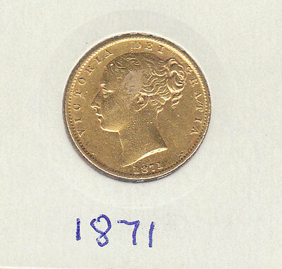1871  VICTORIA YOUNG HEAD.SHIELD REVERSE  sovereign