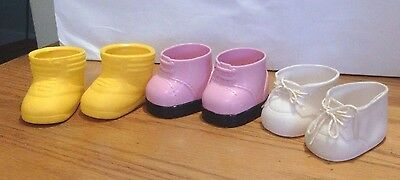 3 Pair Cabbage Patch Doll Shoes White ~ Pink ~ Yellow