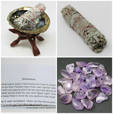 Smudge Kit Crown Chakra: Abalone Shell Stand White Sage Stick & Amethyst Crystal
