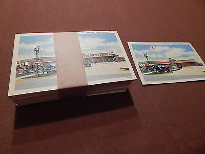 LOT OF (100) VINTAGE MILWAUKEE ROAD RAILROAD STATION POSTCARDS 1940s TRAIN DEPOT