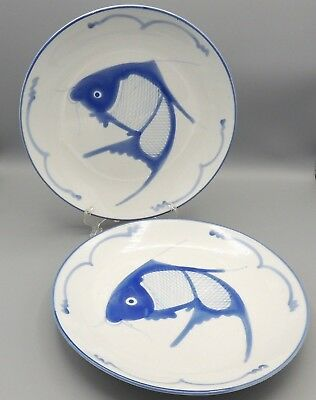 2 Vintage Koi Dinner Plates Blue White Squiggle Made in China