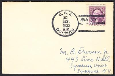 Submarine USS DOLPHIN SS-169 Navy Day 1932 Naval Cover