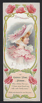 Victorian Bookmark-Trade Card-Ellen Clapsaddle-Rochester-New York-Haines Piano