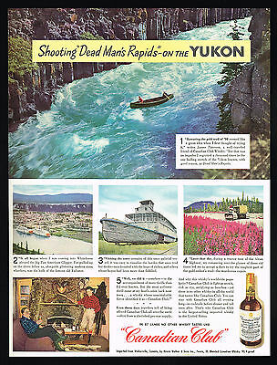 1946 Canadian Club CC Whisky Alaska Yukon Dead Man's Rapids Canoe Photo Print Ad