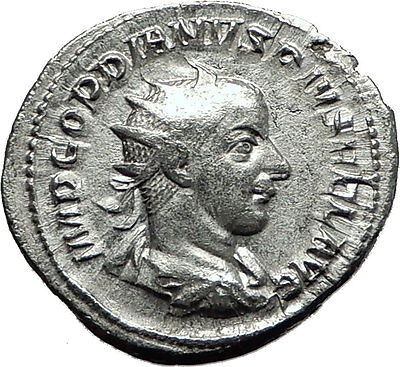 GORDIAN III 241AD Rome Silver Authentic  Ancient Roman Coin Zeus Jupiter i59135