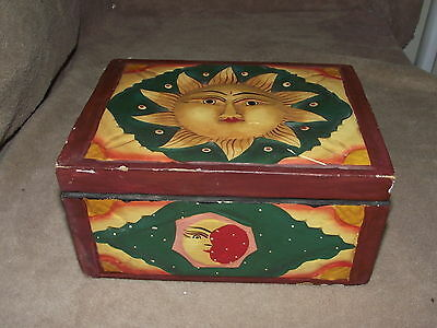 Mexico Mexican hand carved wooden cigar trinket green yellow brown sun box