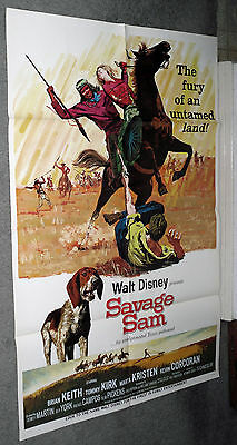 SAVAGE SAM original DISNEY movie poster BRIAN KEITH/KEVIN CORCORAN/MARTA KRISTEN