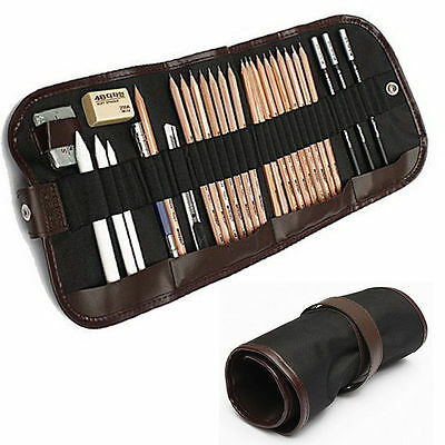 29 pcs Sketch Drawing Pencil Set Sketching Beginner Art Kit Charcoal Bag Craft