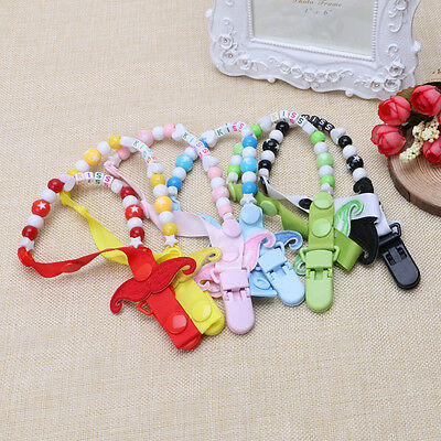 Cute Unisex Baby Moustache Dummy Pacifier Clip Chain Holder Soother Nipple Strap