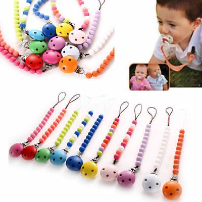 Infant Baby Toddler Dummy Pacifier Soother Nipple Shield Wood Chain Clip Holder