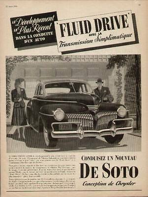 1941 De Soto Sedan with Fluid Drive Transmission.French ad