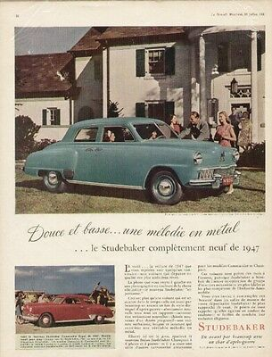 1947 Studebaker 2 French ads 4-door Champion Regal Sedan & Commander Regal Coupe