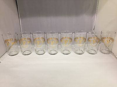 "Set Of 8 Vintage Libbey Clear Drinking Glasses With Gold ""p"" Monogram, 840-I"