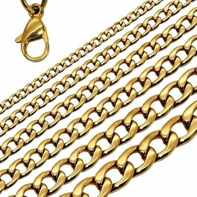 18K Gold Filled Stainless Steel Curb Cuban Link Chain Men Necklace 18-36''