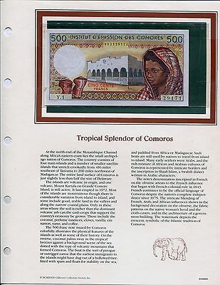 Comoros 1976 500 Francs, Pick #7a, Unc, in Page