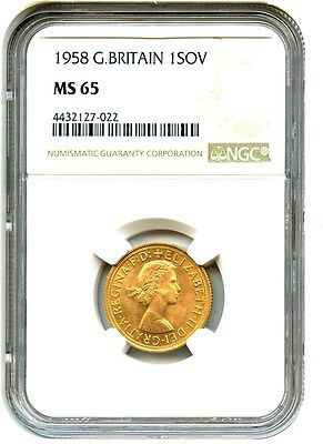 Great Britain: 1958 Gold Sovereign NGC MS65 (KM-908) - .2355oz Gold