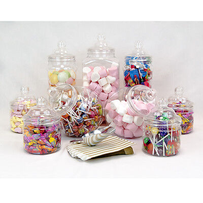 9x Large Vintage Jars Candy Buffet Sweet Shop Wedding Kids Kit Scoop Gold Bags
