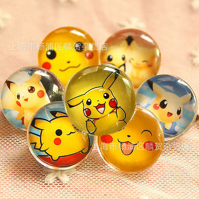 22mm Pokemon Pikachu Glass Kid Button Badges Pins Brooches Xmas Gift Party Favor