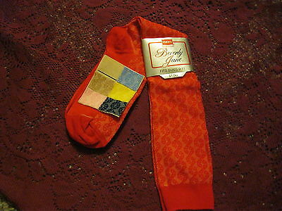 Vintage Haines Red Label Beverly Jane 100% Stretch Nylon Red Socks 9-11 NWT