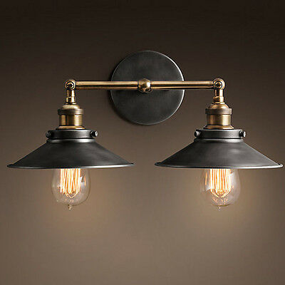 Vintage Industrial Glass Copper Wall Sconce Retro Wall Lamp Rustic Light Fixture