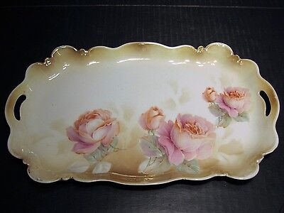 Ornate Antique RS Prussia Marked Peach Colored Roses Decorated End Handled Tray