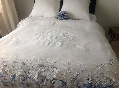Antique Art Nouveau White Linen Embroidery Crochet Tablecloth Bed Cover Throw
