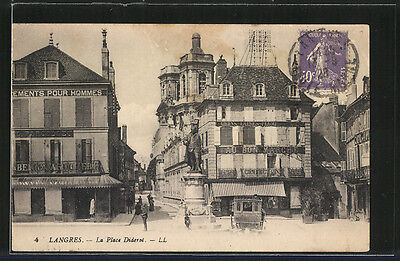 formidable CPA Langres, La Place Diderot 1928