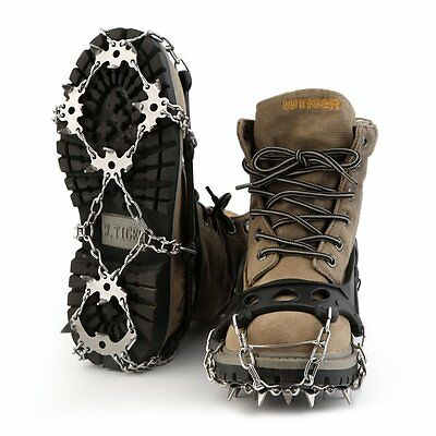 OUTAD 18 Teeth Stainless Steel Crampons Outdoor Antislip Ice Snow Shoe Spikes#JS