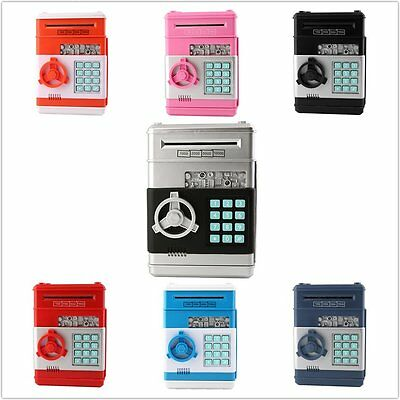 Kids Electronic Money Safe Box Password Saving Bank ATM for Coins and Bills BS