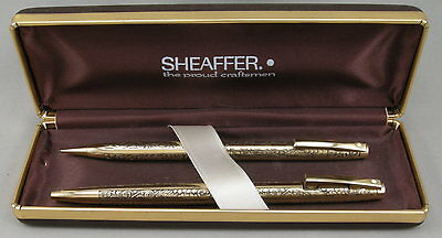 Sheaffer Imperial Gold Grapes & Leaves Ballpoint Pen & Pencil - c.1970's - USA