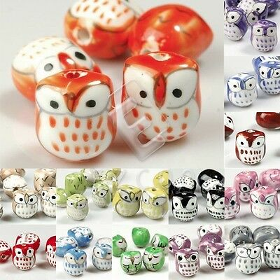 10pcs Porcelain Owl Animal Spacer Beads Loose Craft DIY 17x15mm Fit Necklace HC