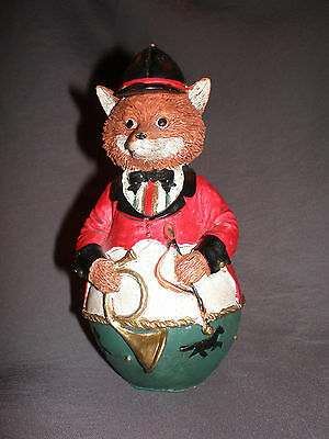 """5"""" Red FOX Roly Poly figurine in English fox hunt clothing, vintage 80's"""