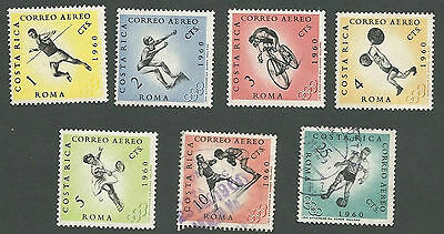 Costa Rica Scott#s C303-C309, Sports, 5 are Unused, OG, Hinged; 2 are Used, 1960