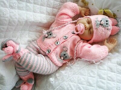 """Knitting Pattern Mouse Cardigan Leggings Hat Boots 17""""- 22"""" Doll 0-3 Month Baby"""