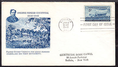 1948 CHICAGO, ILL., #958 5c on SWEDISH PIONEERS FIRST DAY CACHET