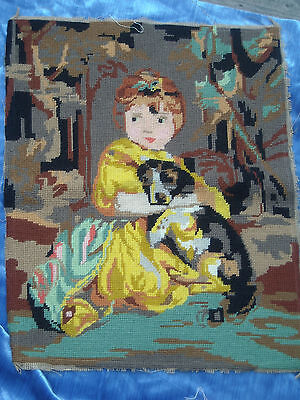 Lovely Completed Needlepoint Victorian Girl with Dog