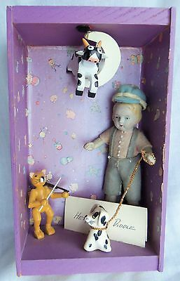 """DARLING 5"""" Antique Bisque Doll in Scene depicting """"HEY DIDDLE DIDDLE"""""""