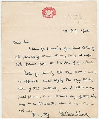 GENERAL ROBERT BADEN-POWELL, Boy Scout Founder, Autograph Letter Signed 1903