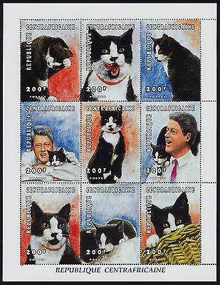 Central Africa 1170 MNH Cats, President Bill Clinton